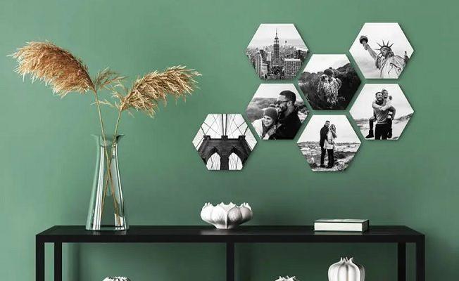 Hexagon foto's voor aan de muur